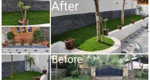 മുറ്റത്ത് പുൽത്തകിടി എങ്ങനെ വയ്ക്കണം.  Garden work done//lawn work/Ep: