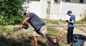 FATHER AND SON Help Elderly Man With Lawn and Garden Cleanup and Then Become Friends